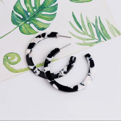 Resin Hoop Earring - Black/White, earring Australian Ethical Clothing Label Rare Muse