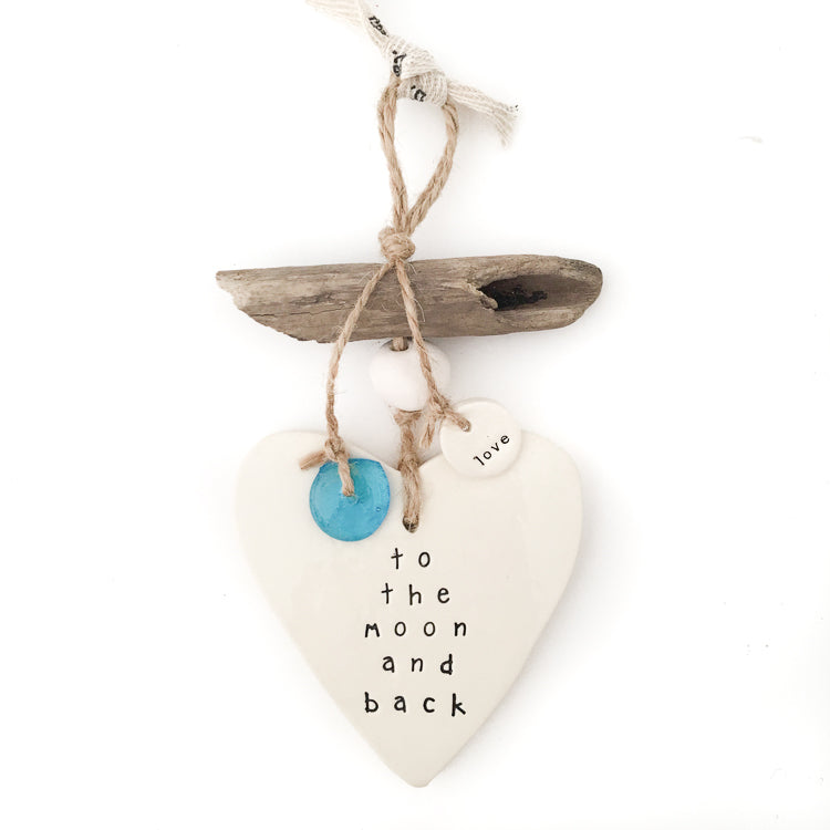 Heart Wall Hanging 'to the moon and back', Wall Hanging Australian Ethical Clothing Label Rare Muse
