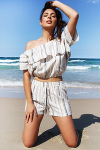 San Diego Short- Natural Linen Stripe, shorts Australian Ethical Clothing Label Rare Muse