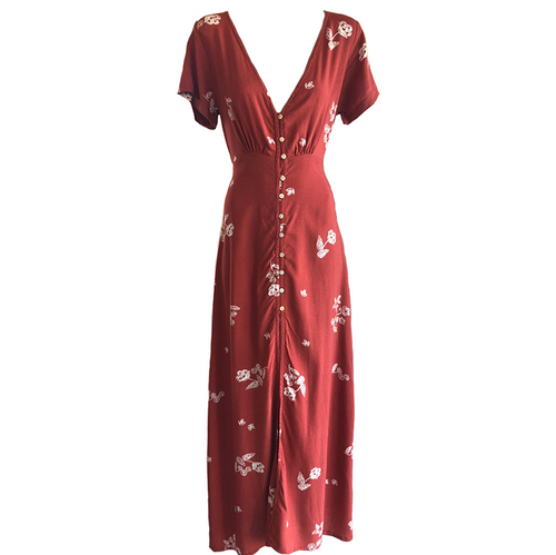 Jessica Maxi Dress- Terracotta Flower, dress Australian Ethical Clothing Label Rare Muse