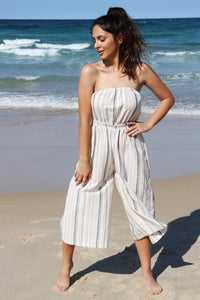 Coco Midi Jumpsuit- Striped Linen, jumpsuit Australian Ethical Clothing Label Rare Muse
