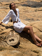 Mexicola Top - White Linen, top Australian Ethical Clothing Label Rare Muse