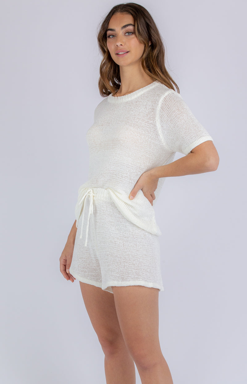 Florence Knit Lounge Short - White