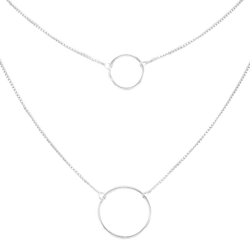 Double Circle Sterling Silver Necklace