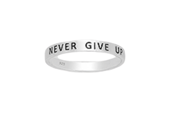 'NEVER GIVE UP' Sterling Silver Ring
