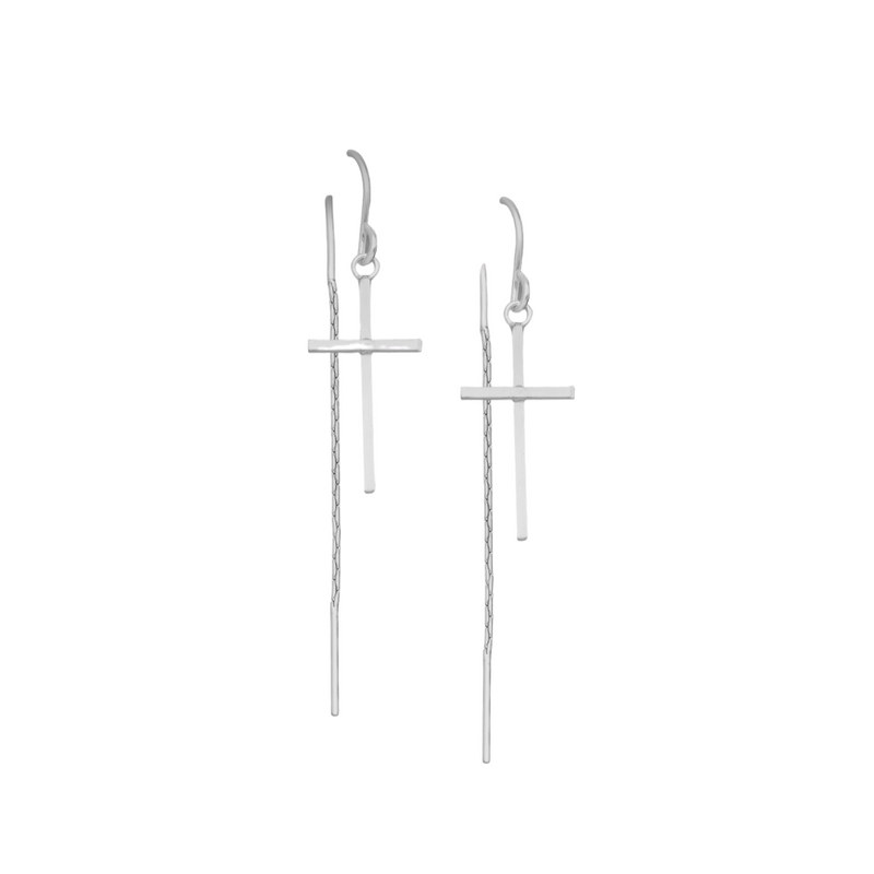 Cross Hoop Threaders - Sterling Silver