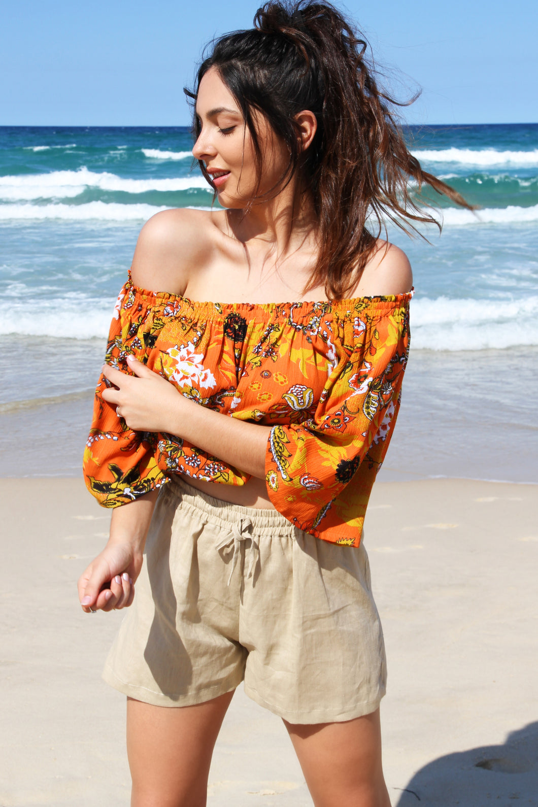 Villa Top - Burnt orange floral, top Australian Ethical Clothing Label Rare Muse