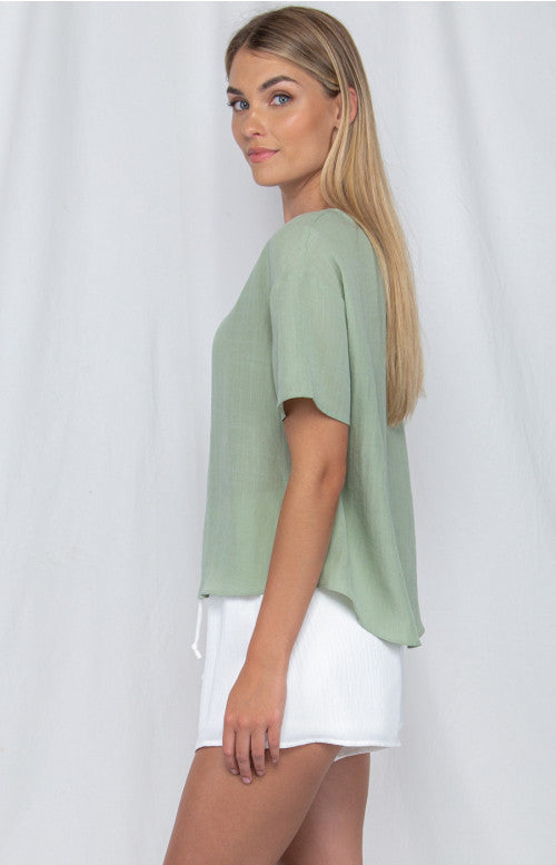 Textured Loose Fit Top - Sage