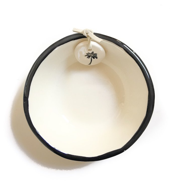 Cream Little Bowl-  black rim with palms