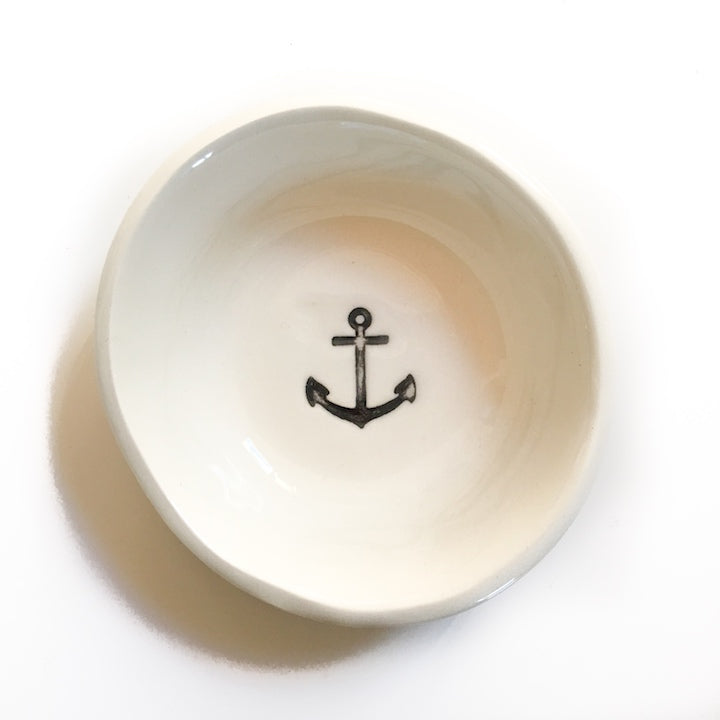 Cream Little Bowl- Anchor, Bowl Australian Ethical Clothing Label Rare Muse