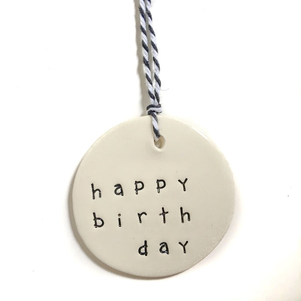 Tag medium circle 'happy birthday', Gift Tag Australian Ethical Clothing Label Rare Muse