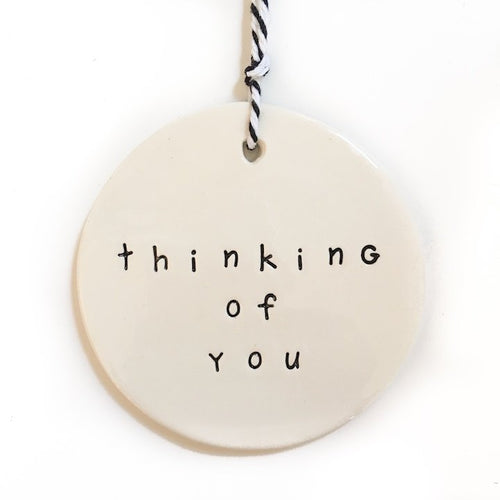 Ceramic Tag Large 'thinking of you'