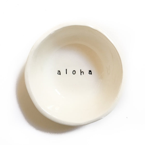 'Aloha' Cream Little Bowl, Bowl Australian Ethical Clothing Label Rare Muse