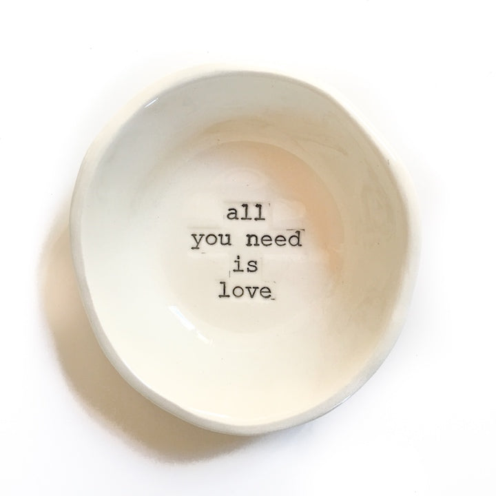 Cream Little Bowl- 'all you need is love', Bowl Australian Ethical Clothing Label Rare Muse