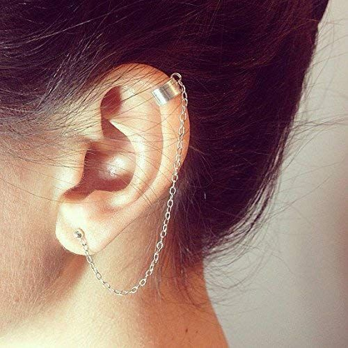 Ear Cuff Threader with Moon Stud - Sterling Silver