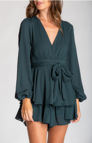 V Neck Jumpsuit - Emerald