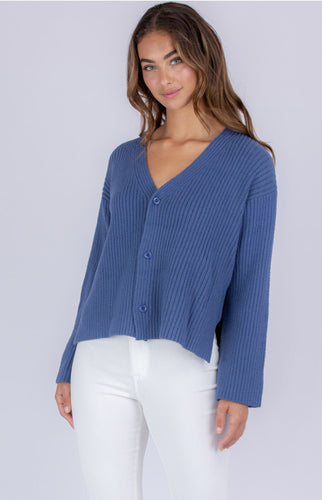 Lilly Cardi- Ribbed Blue