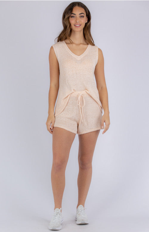 St Barts Knit Lounge Short - Soft Pink