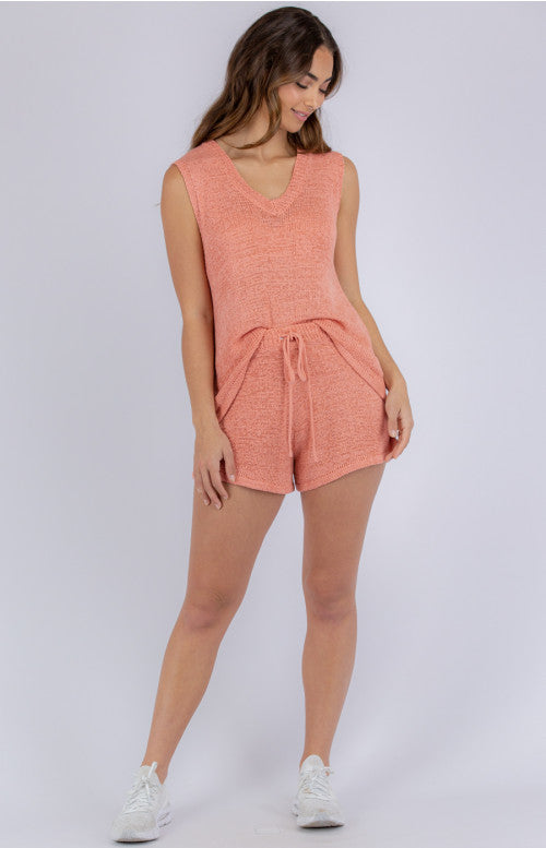 St Barts Knit Lounge Short - Coral