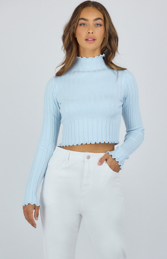 Carly Lettuce Edge Top - Blue