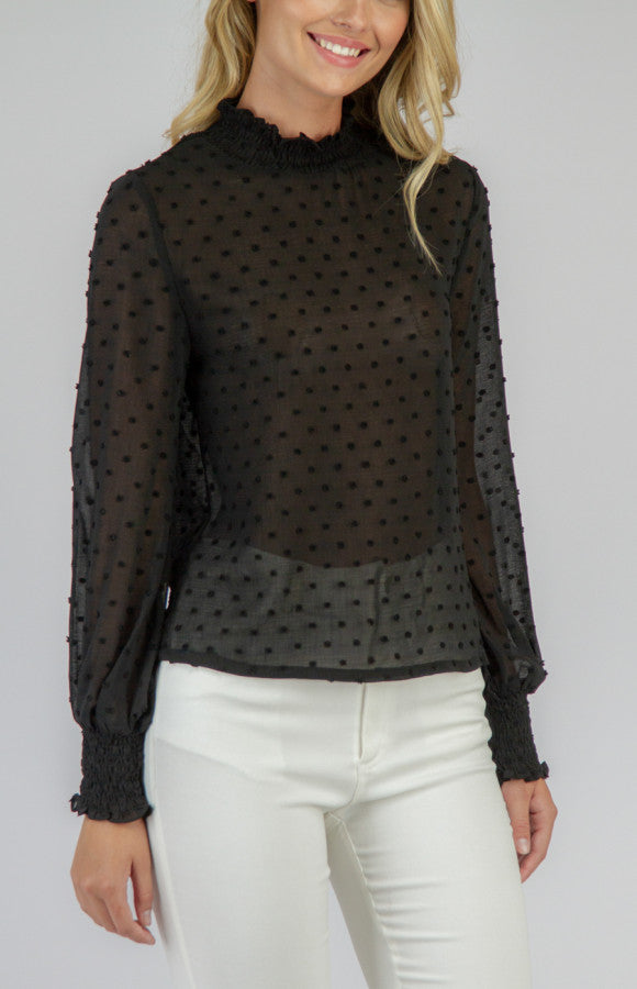 3D TEXTURED TOP- BLACK