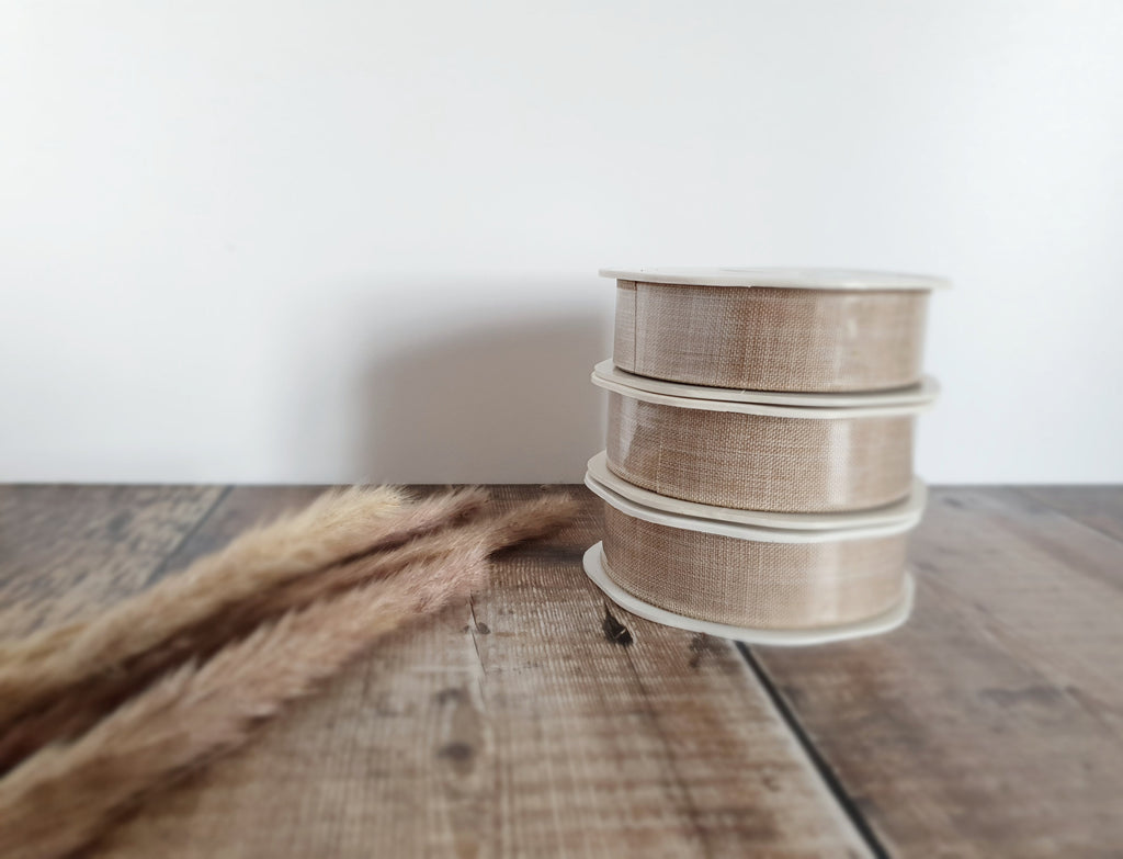 Natural Linen Double Sided Ribbon - Full Roll