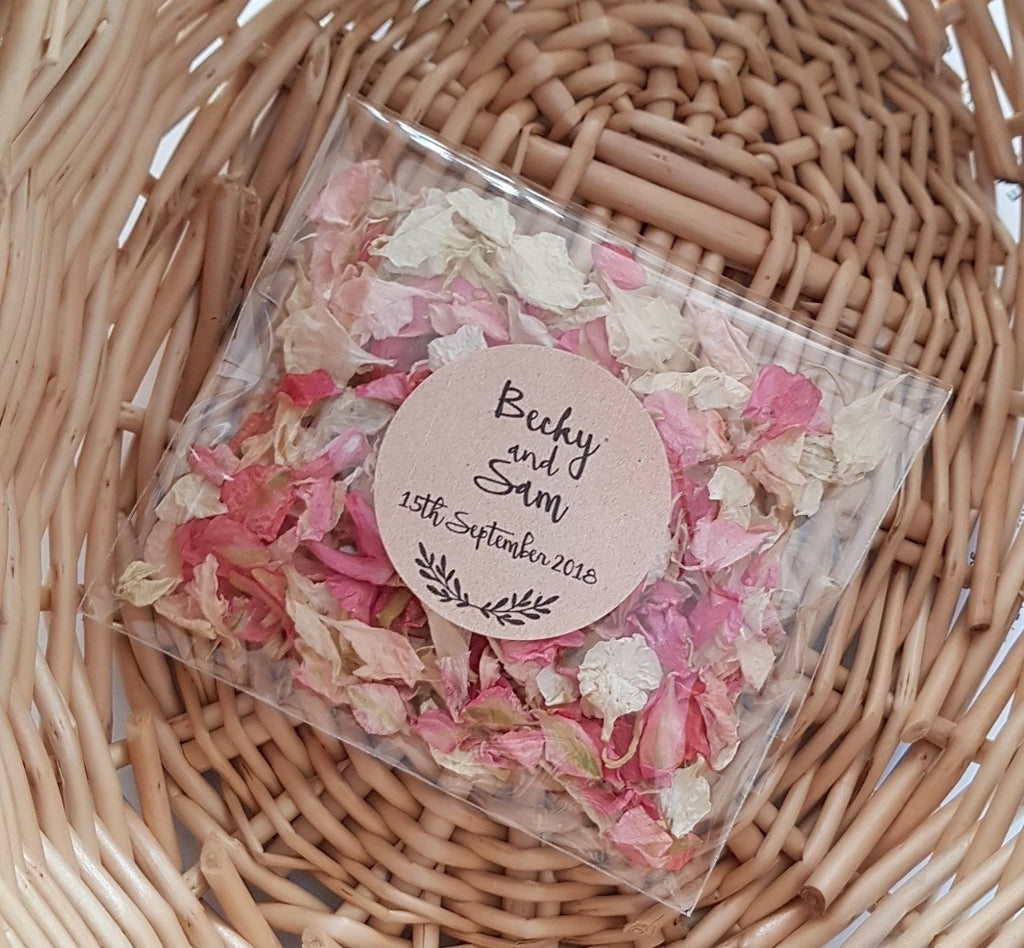Personalised Wedding Confetti Pack - Pink mixes - 35 packs
