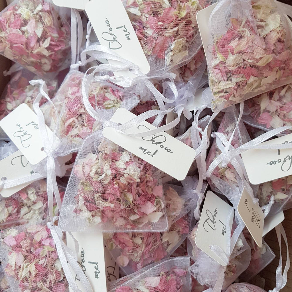 FLOWER PETAL CONFETTI MIX IN ORGANZA BAGS - PINK