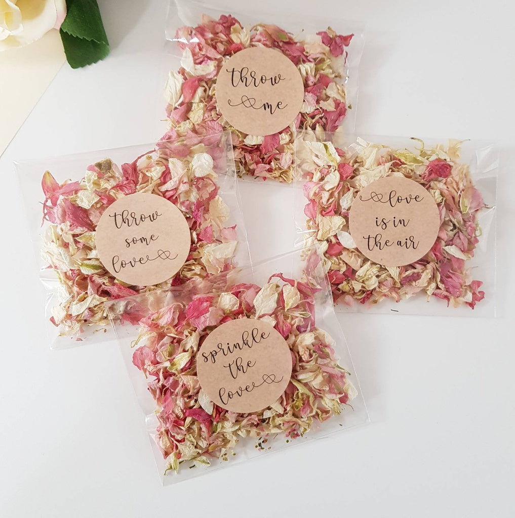 Wedding Confetti Throwing  bags -Pink natural petal confetti - eco friendly flower biodegradable confetti