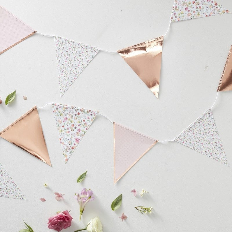 Floral Rose Gold foiled Bunting - Ditsy floral