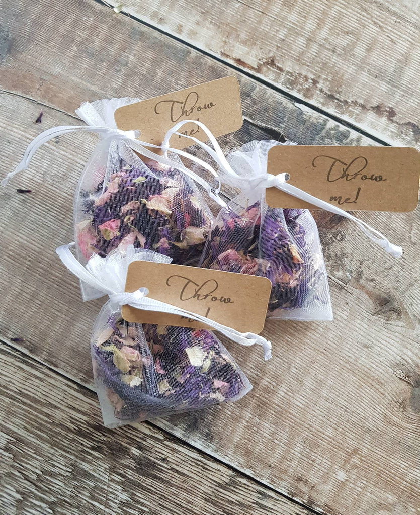 FLOWER PETAL CONFETTI MIX IN ORGANZA BAGS - PURPLE