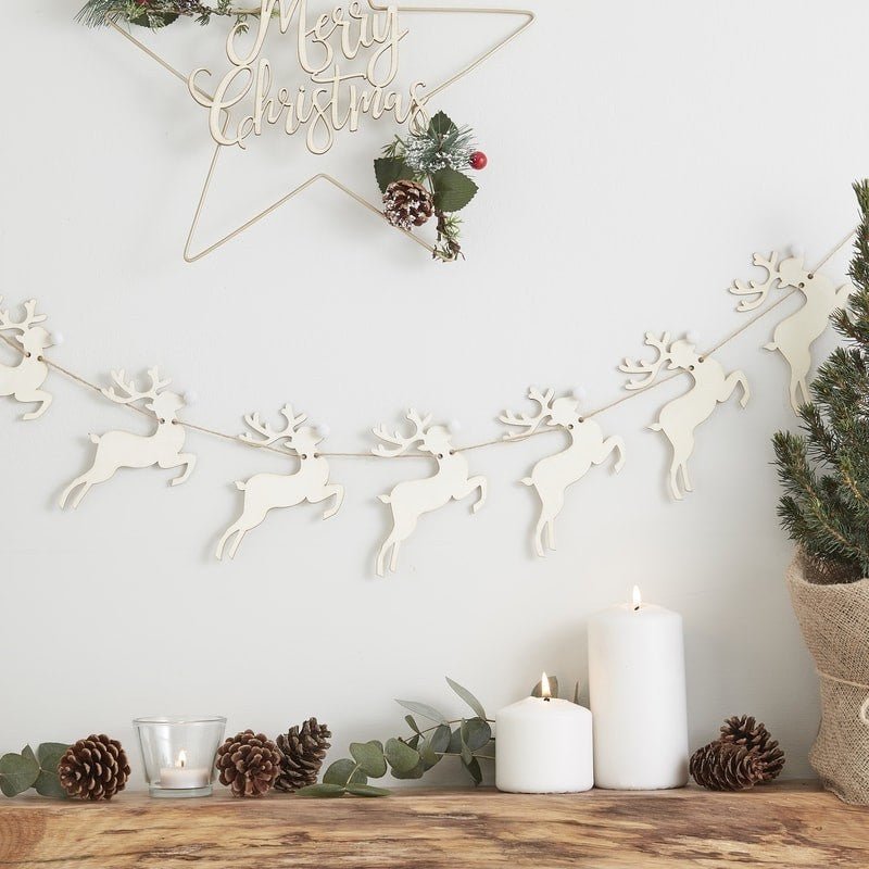 Wooden Stag Pom Pom Nose Bunting - Rustic Christmas