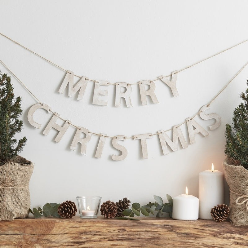 Wooden Merry Christmas letter Bunting - Rustic Christmas