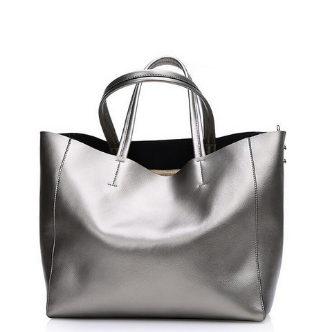 Casual metallic shine genuine leather tote - SichMart