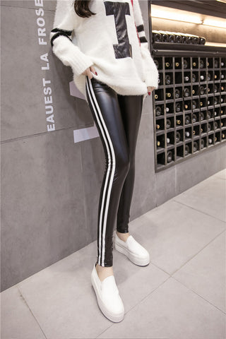 Leather skinny striped pants / leggings