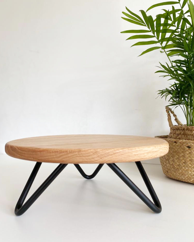 Solid oak cake stand with black hairpin legs
