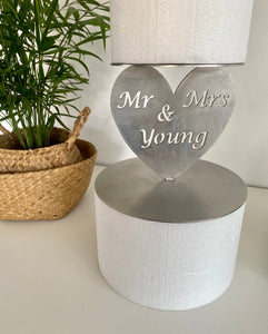 Prop Options Custom personalised stainless steel cake spacer - heart design with couple name