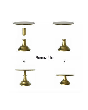 Prop Options Carbon steel adjustable cake stand - showing adjustable height cake stand