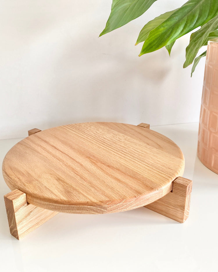 Prop Options Hand crafted solid oak cake stand