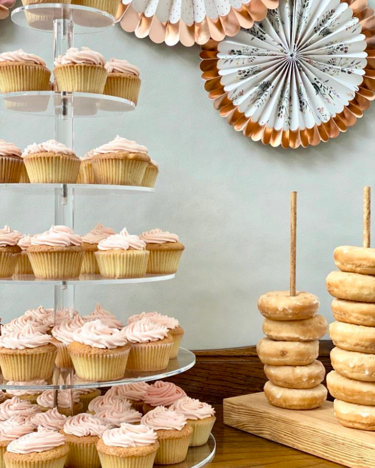 Prop Options 6 TIER cupcake stand with pink iced cupcakes and donuts