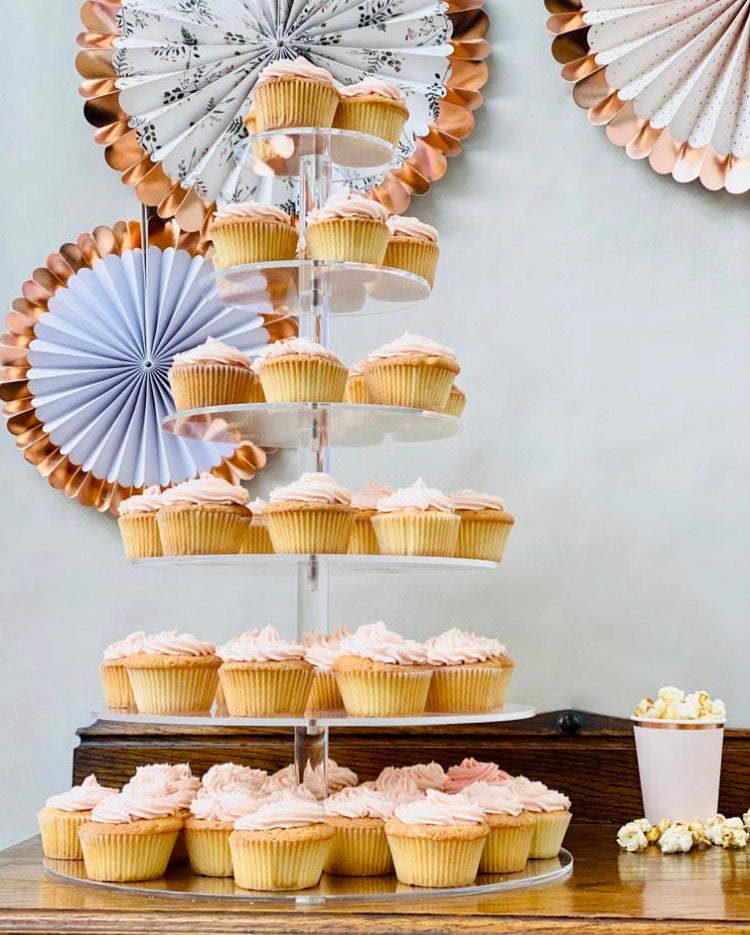 Prop Options 6 TIER cupcake stand with pink doughnuts and pop corn