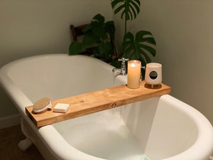 Prop Options hand crafted reclaimed bath board - styled bathroom and with character bath board