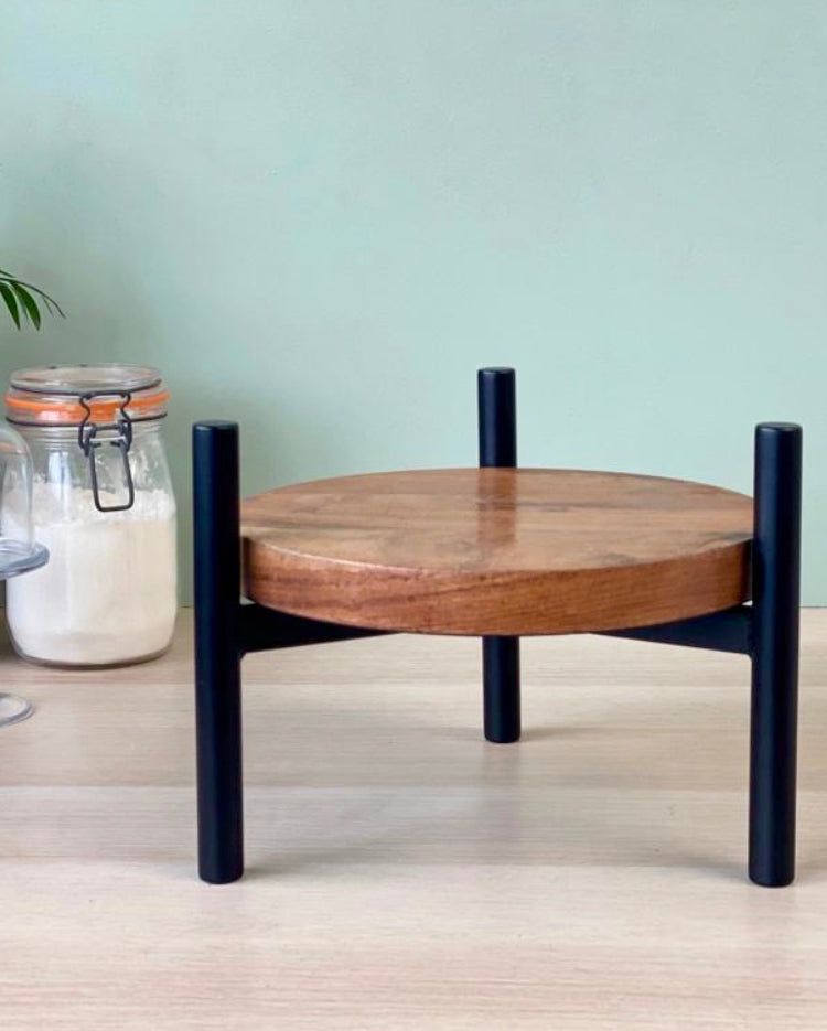 Solid wood stand with matte black T bar legs