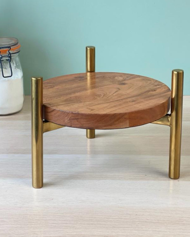 Solid wood stand with metallic gold T-bar legs