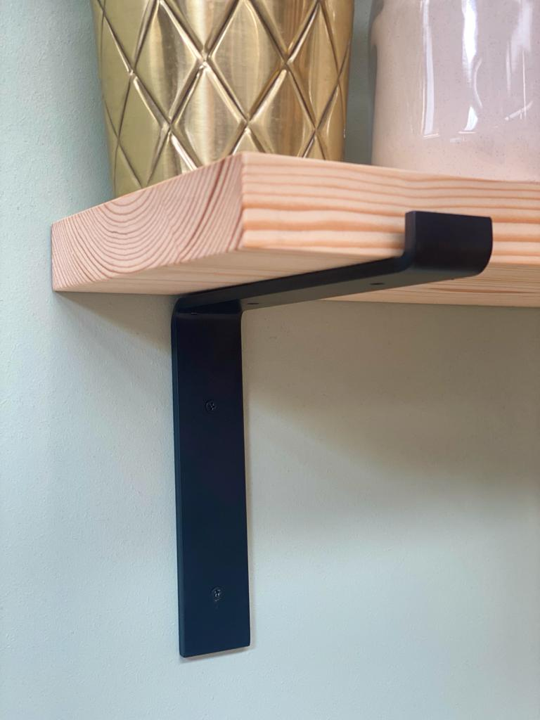 Handcrafted solid wood shelves with black lipped angled steel brackets - shelf kit included