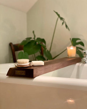 Prop Options hand crafted bespoke American black walnut bath board bath caddy - styled