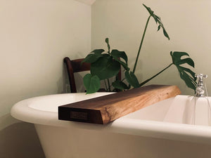 Prop Options hand crafted bespoke American black walnut bath tub board, organiser