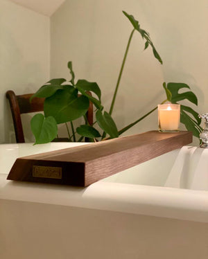 American black walnut bath caddy