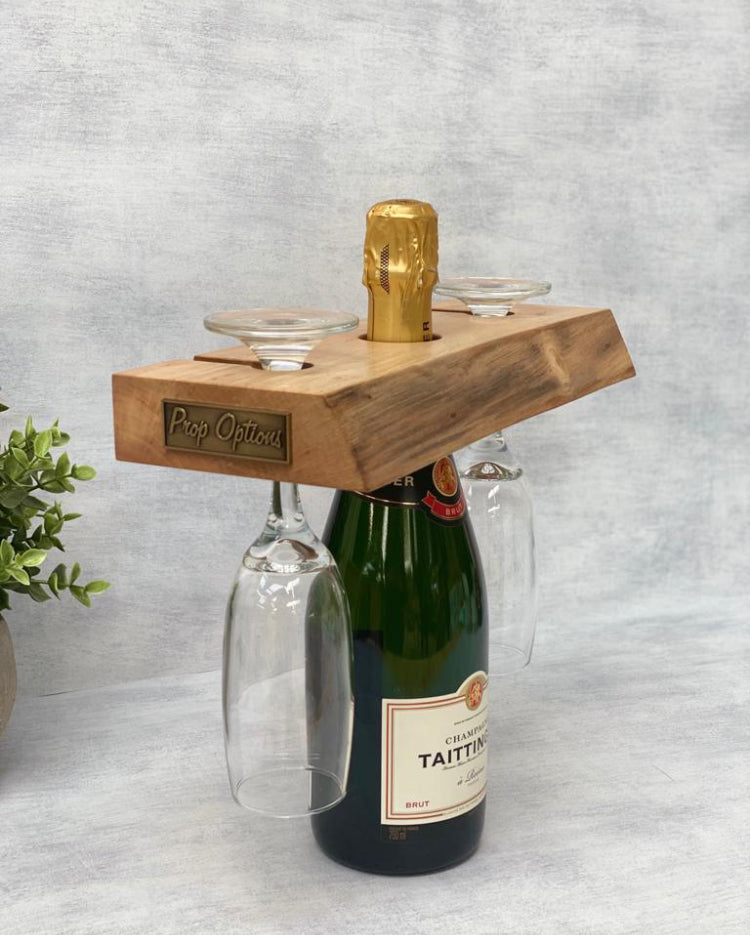 Prop Options English walnut champagne butler, styled Champagne glass holder
