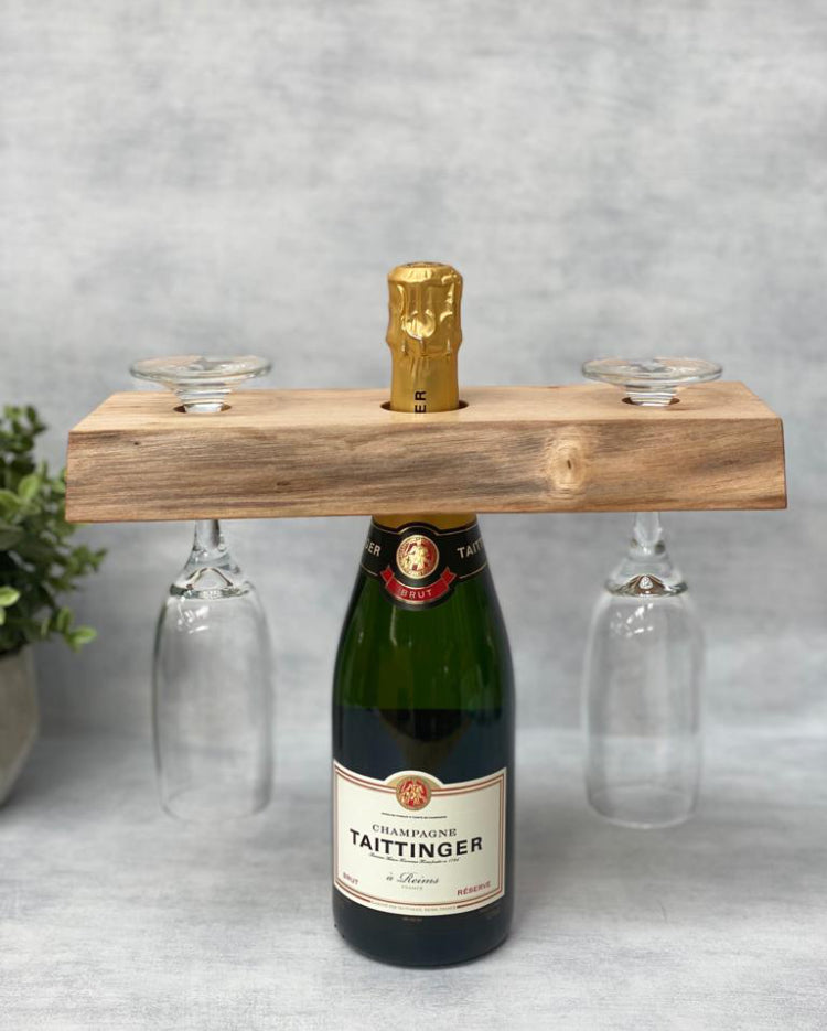 Prop Options English walnut champagne butler, styled with champagne and glasses